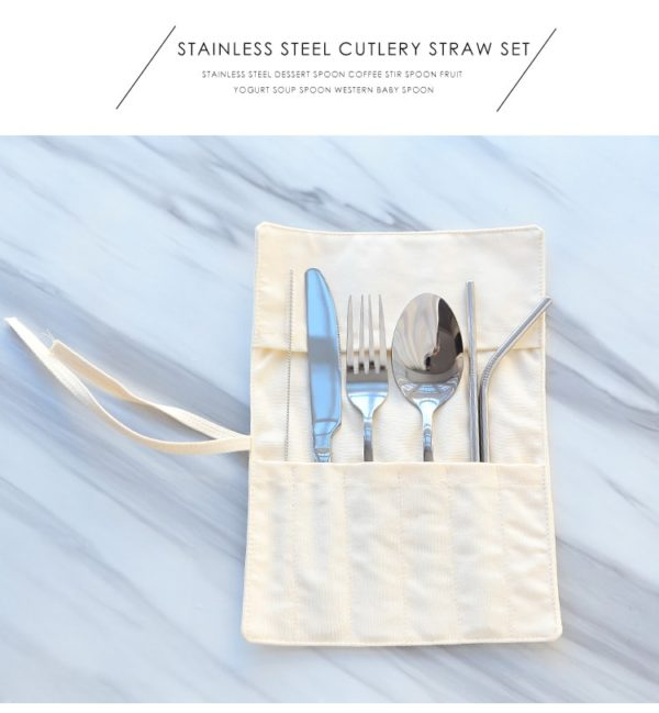 Travel Stainless Steel Cutlery & Straw Set